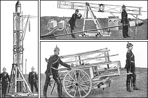 Three views of the launch apparatus: packed, being unpacked, and ready to launch a rocket.