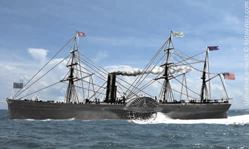print of Steam Ship Arctic with background colorization © todayinsci.com