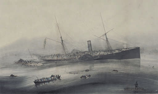 Currier and Ives lithograph print of Steam Ship Arctic sinking