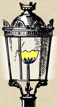 Clip art of lantern part of old gas street lamp.