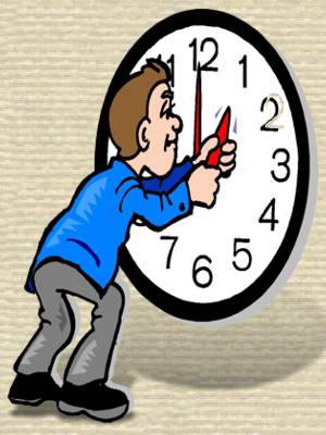 Daylight Saving Time - Clipart of child moving hands on a clock