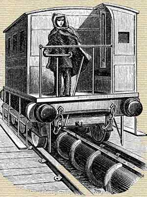 Book illustration of Brunel's South Devon atmospheric railway train tracks and vacuum pipe between the rails.
