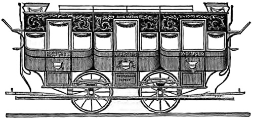 Engraving of the street car, the John Mason. Side view showing three compartments, each with a door.