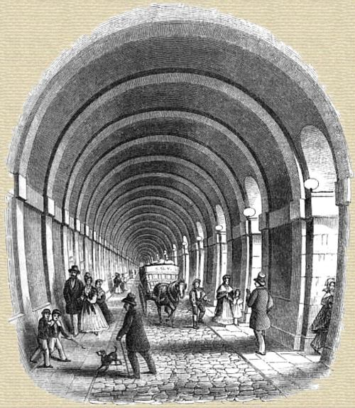 Artist's fanciful impression of the inside of the Thames Tunnel.