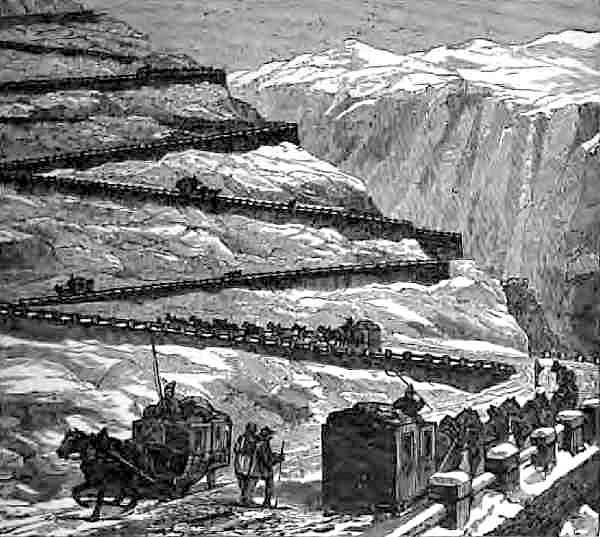Transit by Diligence over Mont Cenis - Horsedrawn wagons on switchbacks