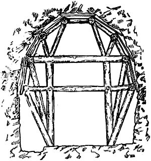 Sketch of tunnel cross-section showing two vertical, horizontal and diagonal bracing timbers between the walls and against roof