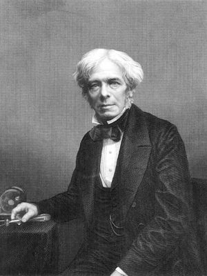 Engraving of Michael Faraday, seated, upper body facing front, hand on side-table with small items of apparatus