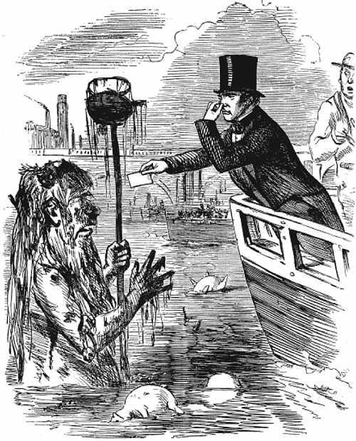 Punch cartoon; Faraday leans from riverboat, handing card to a dirty vagabond, Father Thames standing hip-deep in water.
