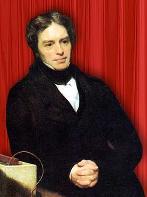 Portrait of Michael Faraday - upper body, leaning on lab bench (800 x 1000 px)