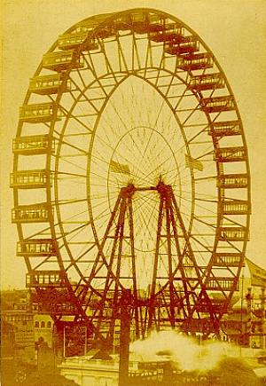 Postcard image of original Ferris Wheel at the World's Columbian Exposition