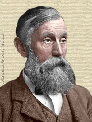 Sir Michael Foster - head with long grey beard and shoulders facing right. Colorization © todayinsci.com