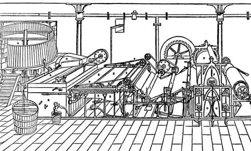 Paper machine diagram, c. 1830.