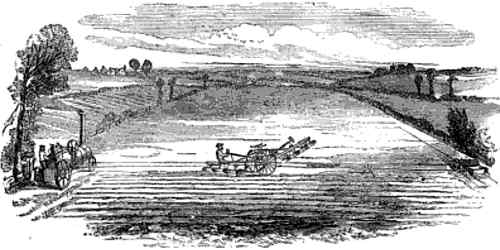 Drawing of John Fowler's Steam Plough using Stationary Steam Engine, Cables and Balance Plough