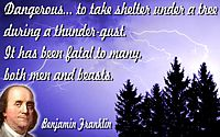 "Benjamin Franklin quote ""Dangerous... to take shelter under a tree, during a thunder-gust"""