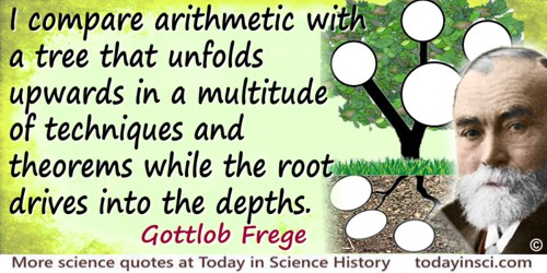 Gottlob Frege quote I compare arithmetic with a tree