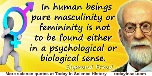 Sigmund Freud quote: In human beings pure masculinity or femininity is not to be found either in a psychological or biological s