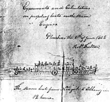 Fulton's diagram of a boat as his prophesy of steam navigation on the Hudson