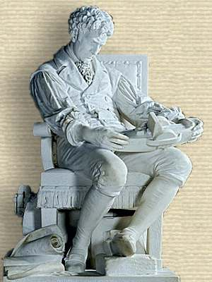 Marble statue of Robert Fulton, seated facing right, studying steam boat model held in lap