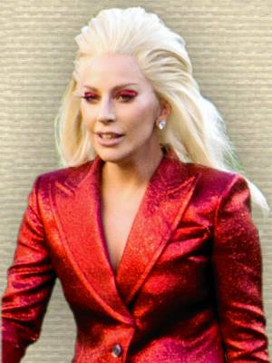 Photo of Lady Gaga in red jacket, upper body, after singing Super Bowl 50 National Anthem