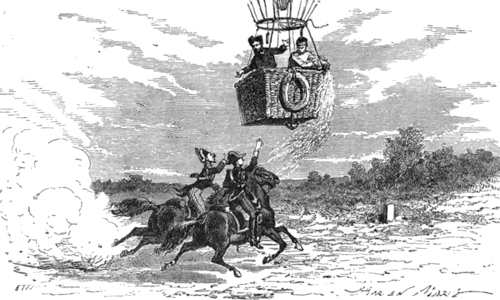 Engraving of two horsemen pursuing Garnerin's parachute challenging him for his passport