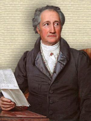 Portrait of Johann Goethe, seated upper body looking right, forearm on corner of table holding letter