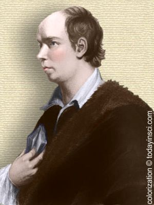Image of Oliver Goldsmith - head and shoulders - colorization © todayinsci.com