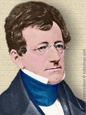 Photo of Samuel Griswold Goodrich, head and shoulders, facing right. Colorized by todayinsci.com