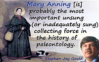 Stephen Jay Gould quote on Mary Anning. Background Anning portrait by unknown artist, before 1842.