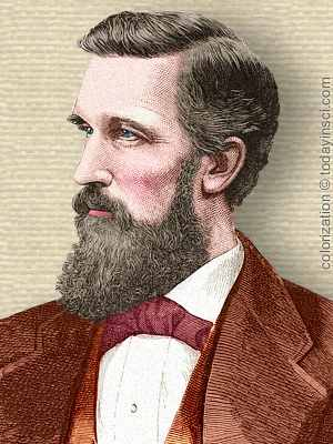 Engraving of Elisha Gray, head and shoulders, facing left. Colorization © todayinsci.com