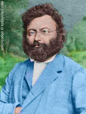 Photo of Amanz Gressly, full beard, upper body, facing forward with trees in meadow background. Colorized by todayinsci.com