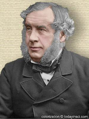 Photo of Sir William Robert Grove, head and shoulders facing left mutton chop sideburns colorization © todayinsci.com