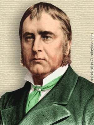 Engraving of William Gull, head and shoulders facing forward. Colorization © todayinsci.com