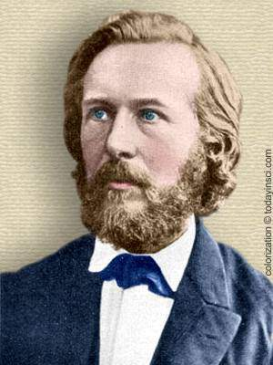 Photo of Ernst Haeckel, head and shoulders, facing front. Colorization © todayinsci.com