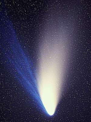 Photo (1997) of Comet Hale-Bopp filling frame vertically, showing bright dust tail up, and to left a second, fainter gas trail