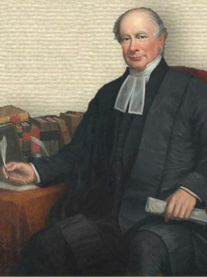 Portrait Thomas Chandler Haliburton robed seated 3/4 body turned slightly left, facing front holding quill beside books on table