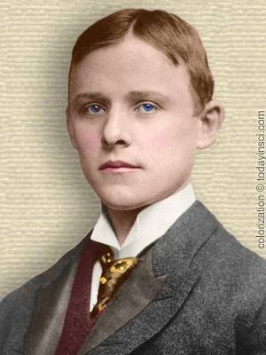 Photo of Charles M. Hall, young adult, head and shoulders, facing front. Colorization © todayinsci.com