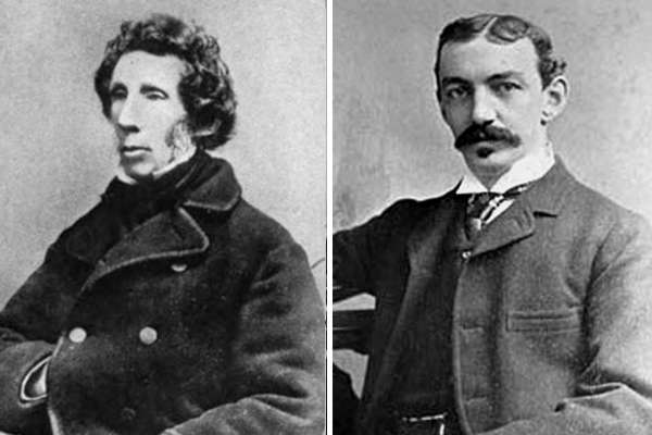 Photos of (left) Friedrich Wöhler, upper body, seated facing left and (right) Hamilton Y. Castner, upper body facing forward.