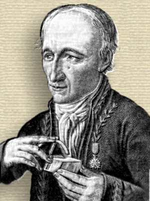 Engraving of René Haüy, head and shoulders, facing half-left, holding crystal and angle measuring caliper against it.