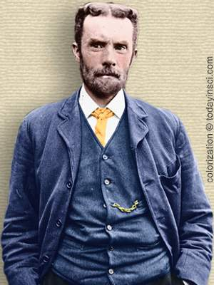 Photo of Oliver Heaviside - upper body. Colorization © todayinsci