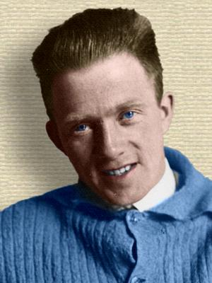 Photo of Werner Heisenberg age about 25 - head and shoulders - colorization © todayinsci.com