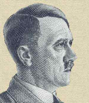 Adolf Hitler. Detail from 80 pfennig German stamp issued 1 Aug 1941.