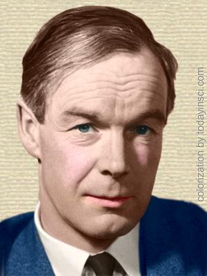 Photo of Alan Hodgkin, face, facing forwards. Colorization by todayinsci.com