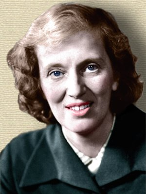 Photo of Dorothy Hodgkin, head and shoulders - colorization by Webmaster