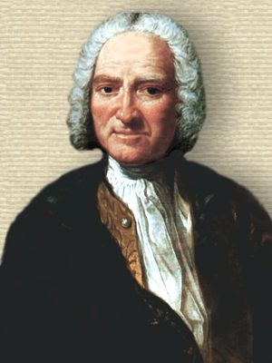 Portrait of Paul Heinrich Dietrich Baron d'Holbach, upper body, facing forward.