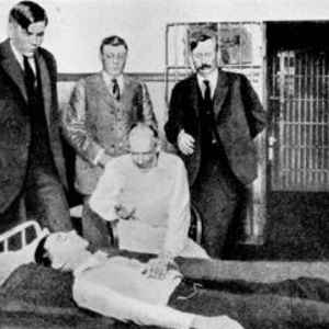 "Dr Robert House, administering his ""truth serum"" drug to an arrested man in a Texas jail."