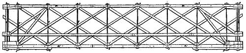 William Howe Truss diagram for Patent No. 1711 (3 Aug 1840)