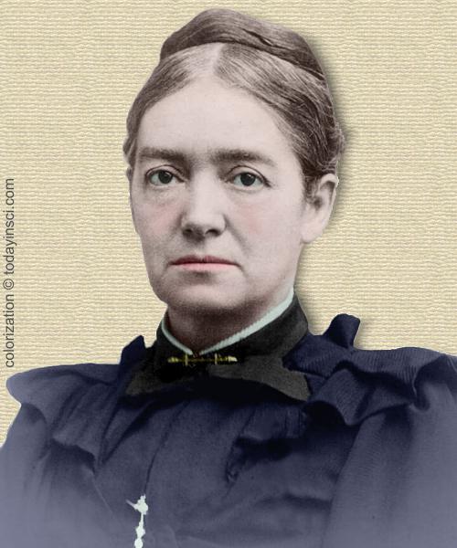 Photo of Mary Putnam Jacobi - head & shoulders - colorization © todayinsci.com
