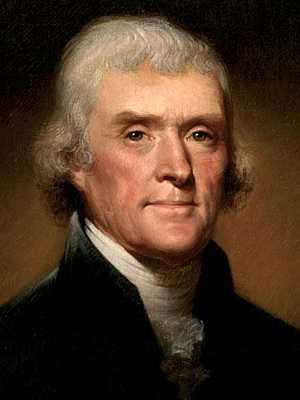 Thomas Jefferson by artist Rembrandt Peale, c.1800.