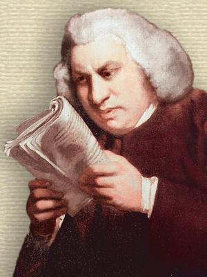 Portrait showing Samuel Johnson, holding and looking closely at an open book - upper body