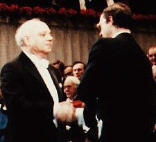 Jerome Karle accepting the Nobel Prize